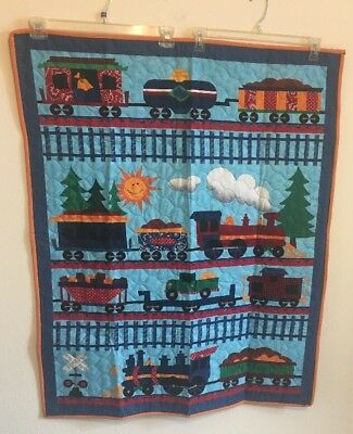 Trains On Blue Quilted Reversible Baby Crib Quilt Nap Play Mat Wall Hanging