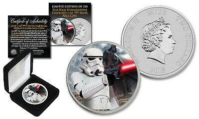 2018 Niue 1 oz Silver BU Star Wars STORMTROOPER Coin with DARTH VADER Backdrop