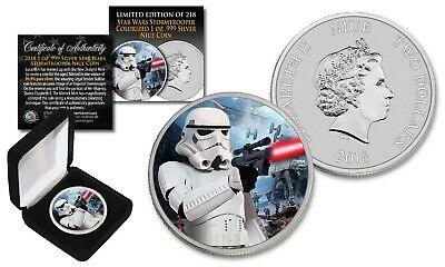 2018 Niue 1 oz Silver BU Star Wars STORMTROOPER Coin with HOTH BATTLE Backdrop