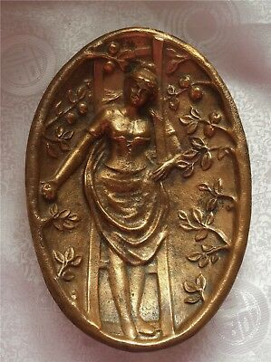 Metal Art Cast Bronze 1800s Antique Victorian Lady Erotic 2 Sided Ring Dish Tray