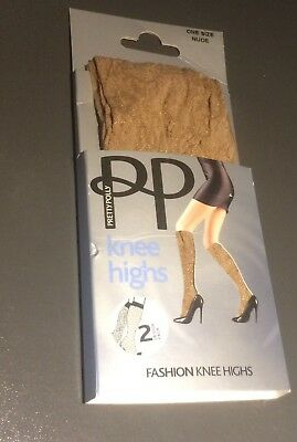Pretty Polly - 2 pairs knee highs - nude - lacy pattern - new in packet
