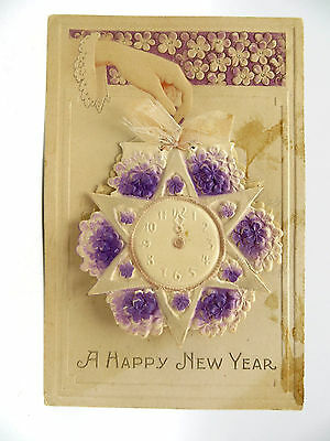 Vintage Early 1900's Embossed 3D Happy New Year Post Card - Made in Germany