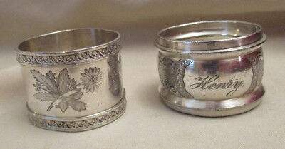 2 Antique Napkin Rings Silverplate 1 Engraved Henry 1 Victorian