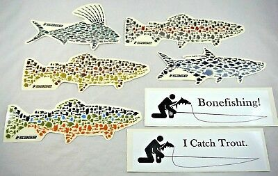 """Lot of 7 Large 9-11"""" Rare SAGE Fly Fishing Heavy Vinyl Stickers  - Trout Tarpon"""