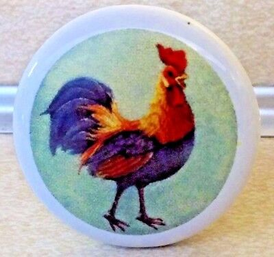 5 Country Rooster Ceramic Knobs Pulls Kitchen Drawer Cabinet & Hardware