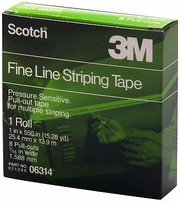 """3M 06314 Scotch 1"""" x 550"""" Fine Line Striping Tape with 8 Pull Outs"""
