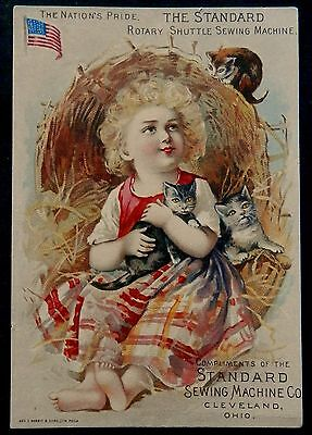 Victorian Tradecard STANDARD SEWING MACHINE Co Cleveland Ohio CHILD & KITTENS