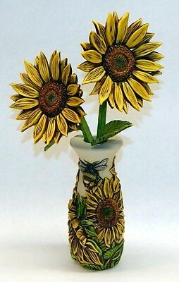 Harmony Kingdom Artst Neil Eyre Designs Vase Sunflower Bees Stained signed & #'d