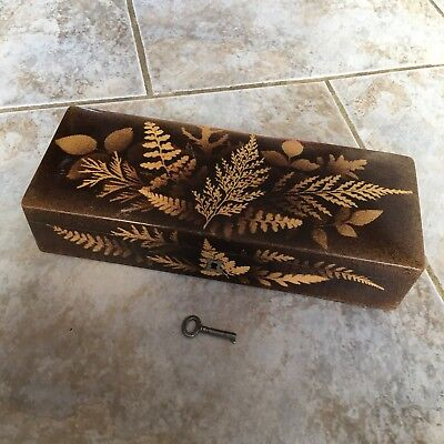 Antique Fern Ware Box With Key 1800s Wooden Mauchline