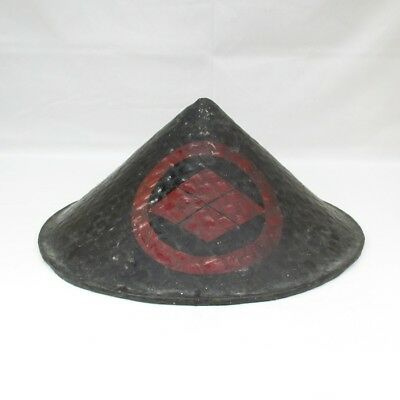 F754: REAL Japanese old SAMURAI military hat JINGASA for foot soldier w/crest. 2
