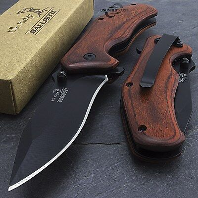 "7"" ELK RIDGE WOOD SPRING ASSISTED FOLDING TACTICAL POCKET KNIFE Open Assist EDC"