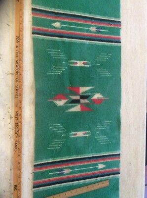 "Vintage Saltillo Serape Green Wool Blanket Table Runner 41"" x 15 1/2"""