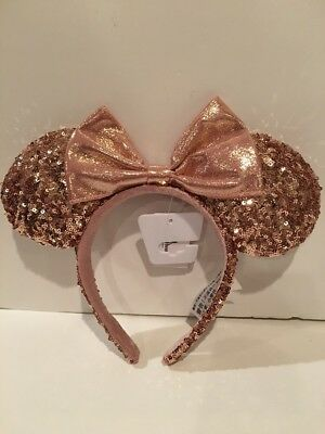 NWT AUTHENTIC Disney PARKS Rose Gold Minnie Mouse Ears Sequin Headband OS