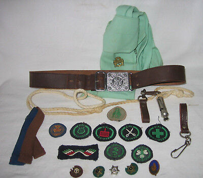 Vintage Girl Guides Aust Leather Belt, Aussie Rider Whistle, Lanyard, & Badges