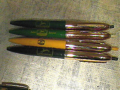 Vintage Lot Of 4 Adv John Deere Implement Co Double Click Ball Point Pens !!