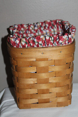 1992 Royce Craft Basket, Longaberger Cherry Plaid Fabric Liner, Made In Ohio