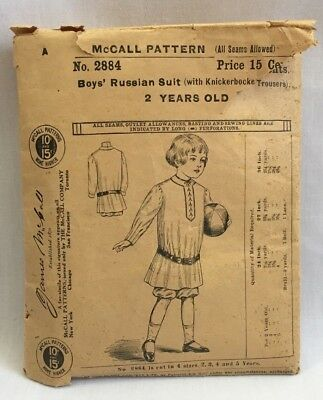 RARE! Edwardian 1908 McCALL SEWING PATTERN #2884 Boys Russian Suit sz 2 yrs 2881