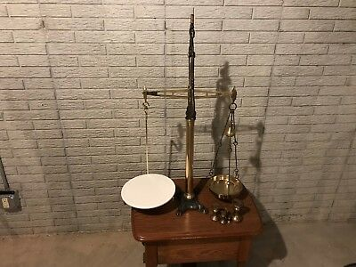 "LARGE 36"" ANTIQUE 19th CENTURY ENGLISH ORNATE BRASS AND CAST IRON BALANCE SCALE"