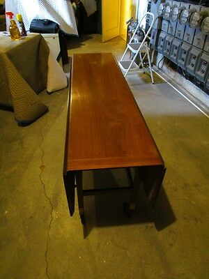 Vintage Craftmen Mahogany 60 inch Sofa or Occational Drop Leaf Table on Casters