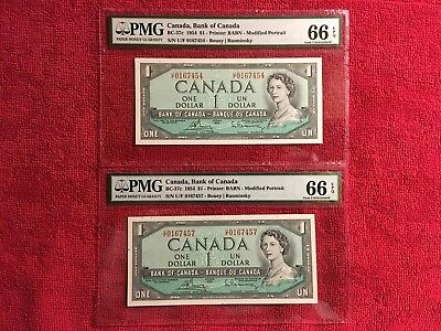 Bank of Canada  BC-37c 1954 1 Dollar Modified  *2 Banknotes*  PMG 66EPQ