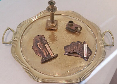 Art Nouveau Brass Tray **  2 Candle Holders ** 2 Australian Motif Thermometers.