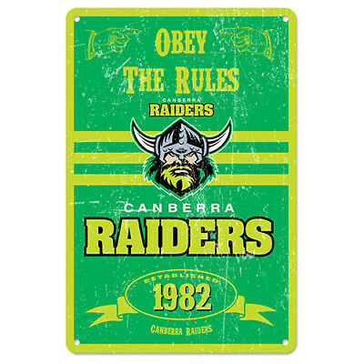 125020 Canberra Raiders Nrl Obey The Rules Retro Metal Tin Sign Pool Room