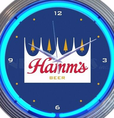 Hamm's Beer Neon Wall Clock Office Game Room Garage 15 Inch Red White Blue