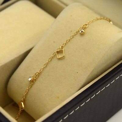 """18K Yellow Gold Filled Bracelet Chain 9.3""""Anklet Link GF CZ Fashion Jewelry Gift"""