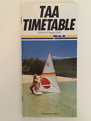 Trans Australia Airlines (TAA) Timetable August 1985 - Final one as TAA