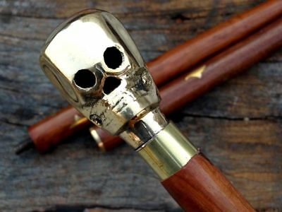Collectible Skull Design Antique Style Cane Wooden Walking Stick Nautical Cane