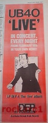 UB40 'LIVE' every night 1983 UK Poster size Press ADVERT 16x6 inches