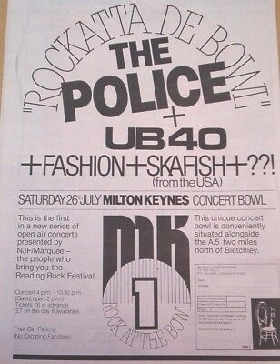 UB40 POLICE Milton Keynes 1980 UK Poster size Press ADVERT 16x12 inches