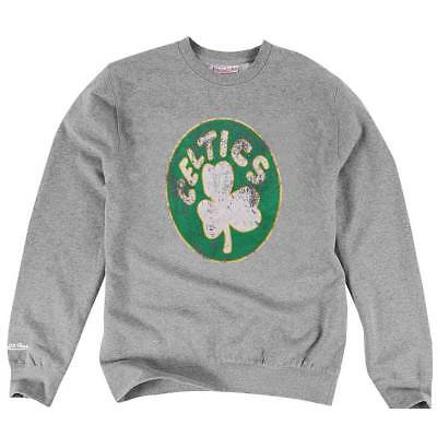 Mitchell & Ness Boston Celtics Distressed Logo NBA Crewneck Sweatshirt Grau