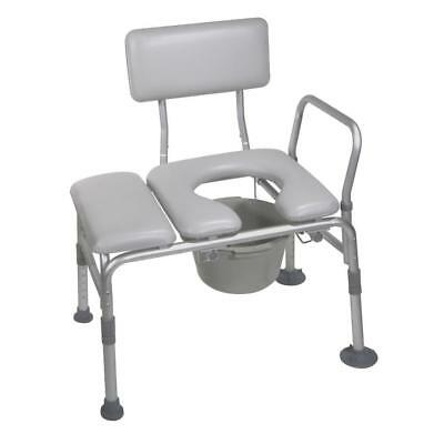 Transfer Bench Padded Seat Commode Opening Adjustable Height Mobility Backrest