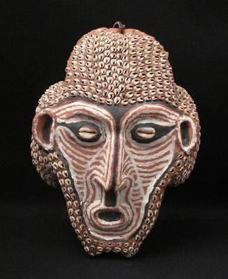 Vintage Papua New Guinea Overmodelled Turtle Mask Cowrie Shell Tribal Mask Sepik