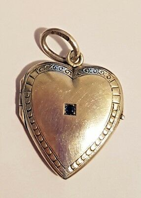 FABERGE Antique Imperial RUSSIAN Heart Locket pendant with Sapphire,84 silver
