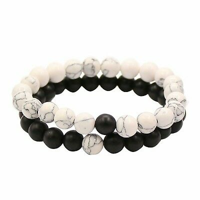 Bracelets Distance Couple Amants-2pcs Agate Matte Noir & Perles Blanches