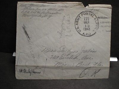 APO 775 MARRAKESH, MOROCCO, NORTH AFRICA 1943 Censored WWII Army Cover AMEW ATC