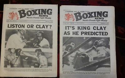 2 X BOXING NEWS MAGAZINES ,SONNY LISTON v CASSIUS CLAY  , GREAT COVERS 1964