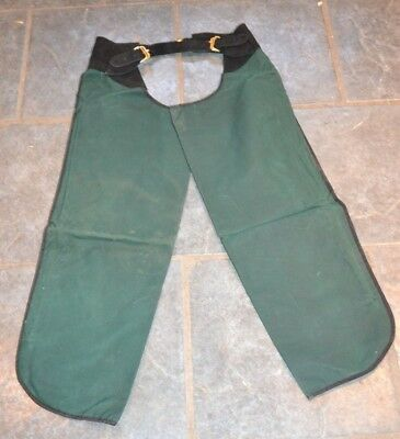 New * Green Waxed Cotton Full Chaps With Blue Check Lining * Ladies / Teen Small