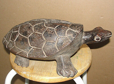 Old Antique African Gongo Turtle Tribal Stool Bench Box Sculpture Mask Africa