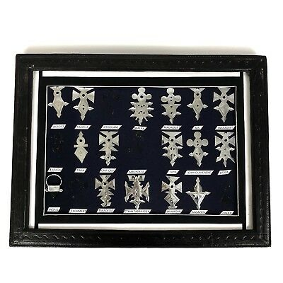 16 African Niger Tuareg Tribal Silver Jewelry Symbology Framed Display Shadowbox