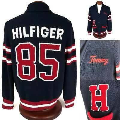 Tommy Hilfiger Shawl Collar Cardigan Sweater Varsity Men's  Size Large Spellout