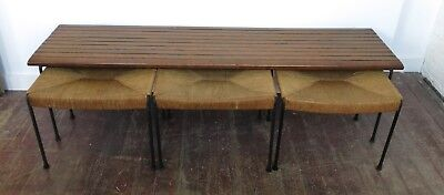 Vintage Arthur Umanoff Bench and Stools for Raymor 1957