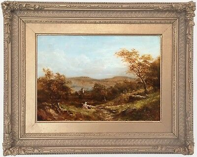 Children in a Rural Landscape Antique Oil Painting 19th Century English School