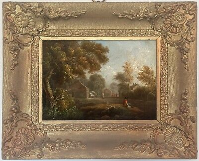 Figures in a Village Landscape Antique Oil Painting 19th Century English School