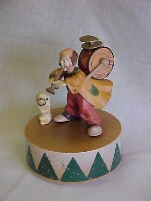 """VINTAGE WOODEN, CLOWN MUSIC BOX-PLAYS """"SEND IN THE CLOWNS'-circa-1981-WORKS"""