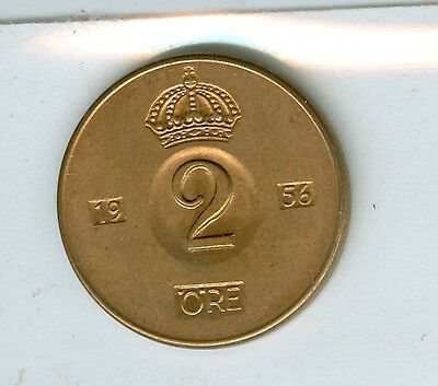 Sweden 1956 Two Ore--Uncirculated