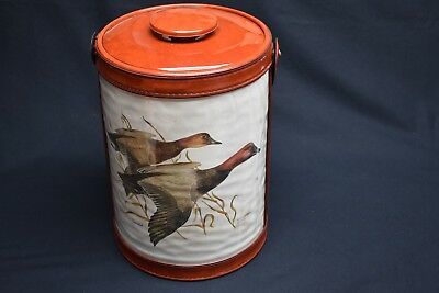 Limited Edition Leather Trim Ice Bucket Canvasback Duck Foul Hunting Scene