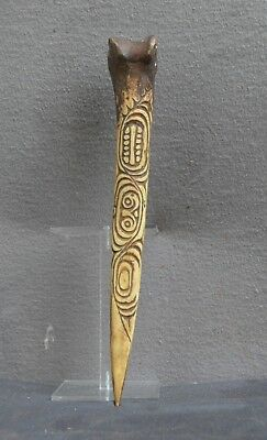 Old and unusual incised bone dagger from the Sepik River area PNG. Abelam people